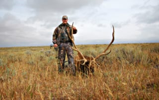 man posing with elk and horns in field
