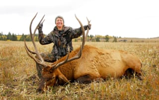 woman posing with an elk and horns