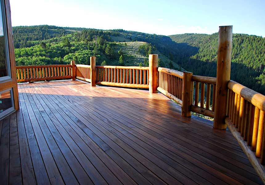 deck with view of hills