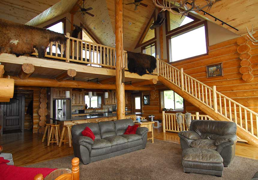 lodge interior living room and kitchen