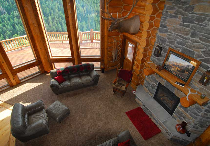 lodge interior - living room from second floor