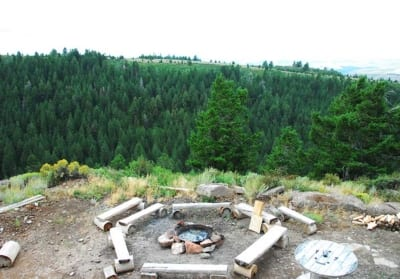 fire pit and view of hills