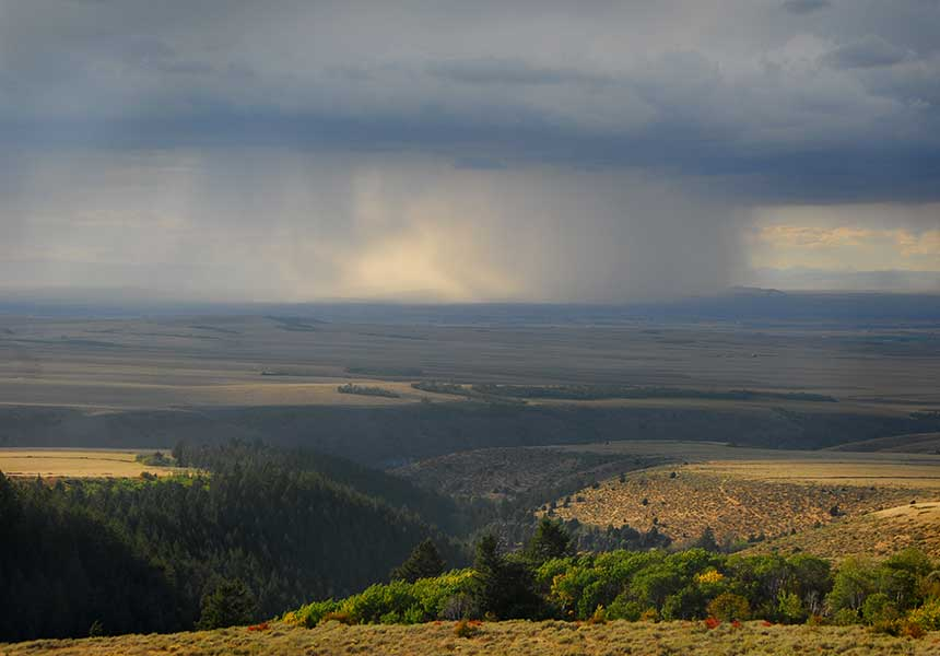 rain falling on the plains