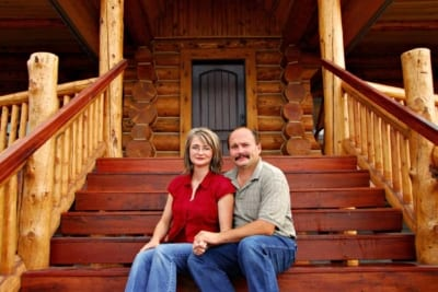 Jeff and Alana sitting on stairs
